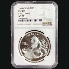 1998 China panda 1oz silver coin S10Y Small Date NGC MS69