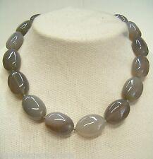 Collana in AGATA GRIGIA naturale con chiusura in argento 925 - pietra dura -