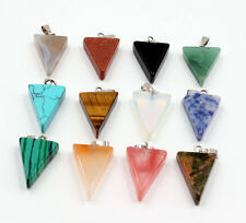Wholesale 12pcs Fashion assorted natural stone triangle shape charms pendants