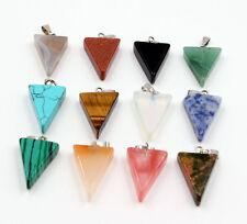 Wholesale 12pcs Fashion assorted natural stone triangle shape charms pendants