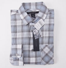 NWT $198 MARC JACOBS Pale Blue-Gray Plaid Lightweight Cotton Shirt XS Check