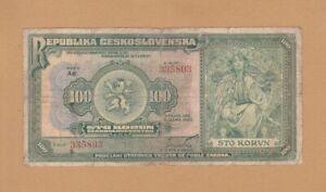 #Czechoslovakia Republic 100 Korun 1920 P-17 AF Khaa and Slovak Very Rare