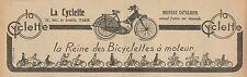 Y7229 La Cyclette la Reine des Bicyclettes à moteur - Pubblicità - 1923 Old ad