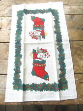 New - Linen Dish Towel With Cat Christmas Design