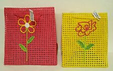 Flowered Gift Bags Set of 2 Pink & Yellow