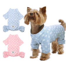 Cosy Cotton Pink Dog Pajamas Jumpsuit Puppy Cat Winter Clothes for Medium Dogs