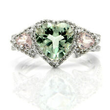 14K WHITE GOLD PAVE DIAMOND HEART GREEN PINK AMETHYST  COCKTAIL ENGAGEMENT RING