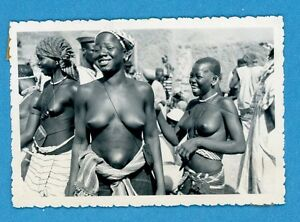 Vintage 1950's African 3 Young Women  Topless Laughing