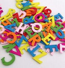 100pcs Mixed Colors alphabet Wooden Buttons Fit Sewing Scrapbook DIY Hnk237