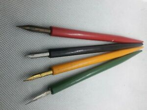 Lot of 4 VINTAGE Wood dip ink pens w/ Gellott-Esterbrook-Hunt-Spencerian nibs