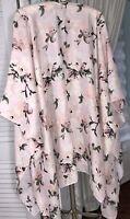 NEW Plus Size 3X 2X 1X Pink Floral Kimono Open Duster Jacket Topper ET