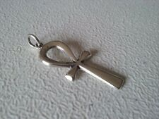 """925 STERLING SILVER LARGE ANKH NO STONE CROSS PENDANT 1 7/8"""""""