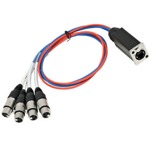 4 Channel RJ45 Ethercon to XLR Female Breakout Audio Snake Cable - 3 Feet