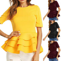 Women Round Neck Vintage Layered Ruffle Hem Fit Solid Peplum Blouse Shirt Top US