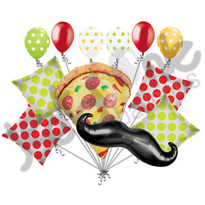 12 pc Pizza Party Balloon Bouquet Mustache Slice Happy Birthday Polka Dot Decor