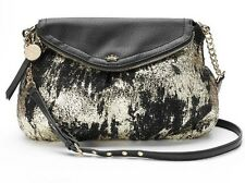 Juicy Couture Women's Gold Foil & Black Traveler Cross Body Bag-NWT-Very Nice!!