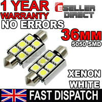 2PCS 6 SMD LED 36mm 239 272 CANBUS NO ERROR XENON WHITE NUMBER PLATE BULB