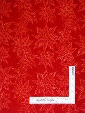 Batik Fabric - Christmas Poinsettia Red Hoffman Indonesian #M2759 Cherry - YARD
