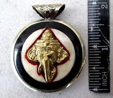 NiiiCe!! Tibet Tibetan Buddhist Silver & Yak Horn Amulet Ganesh & Buddha Eyes