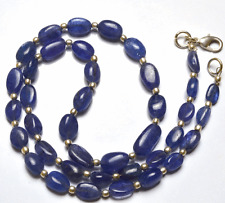 """117 CT 17.5"""" NATURAL TANZANITE SMOOTH NUGGETS  BIG BEADS NECKLACE 6 TO 14 MM"""