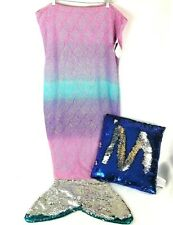 Mermaid Tail Plush Blanket Throw FLIP Sequined Fin w/ Pillow, Blue, Pink, Purple