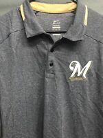 🔥✔️Nike Men's Polo Shirt Short Sleeve Size XL MLB Milwaukee Brewers 🔥✔️
