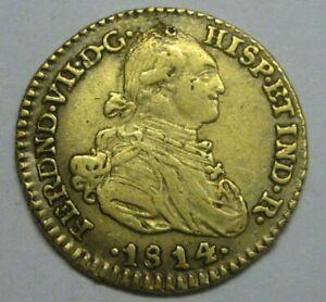 1814 NUEVO REINO 1 ESCUDO COLOMBIA FERDINAND VII GOLD DOUBLOON COLONIAL ERA