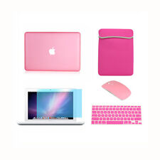 """5in1 Rubberized Pink Case for Macbook White 13"""" +Keyboard Cover +Lcd + Bag+Mouse"""