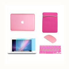 "5in1 Rubberized PINK Case for Macbook White 13"" +Keyboard Cover +LCD + Bag+Mouse"