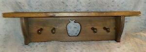 "Country pine wood wall shelf, 5 1/2"" x 24"", apple cutout, 4 pegs, 6 1/2"" high"