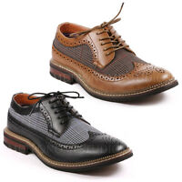 Metrocharm Men's Two Tone Tweed Perforated Wing Tip Lace Up Oxford Dress Shoes