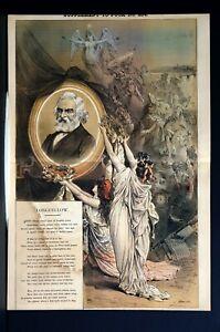 Longfellow Portrait 1882 TRIBUTE to POET Upon DEATH Special Puck Art Supplement
