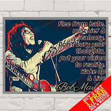 More details for metal sign - bob marley poster famous quote reggae music, wall art & home decor