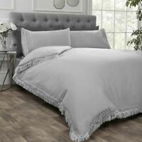 LACE FRINGE TRIM SILVER GREY COTTON BLEND DOUBLE DUVET COVER