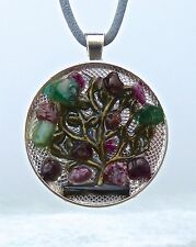 Dreamy Rubies and Emerald Positive Energy Pendant. Tree of Life.