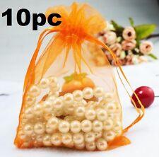 FD5276 Orange Organza Bag Pouch For Jewellery Holidays Wedding X'mas Gift 10PC
