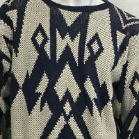 Vintage JANTZEN Textured Knit Sweater Sz XL Geometric Pullover USA Made 80s
