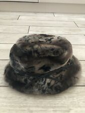 Dents Brown Black Leopard Print Faux Fur Bucket Winter Hat