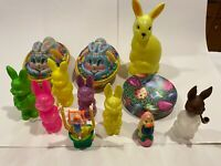 VINTAGE PLASTIC AND TIN ASSORTED EASTER CONTAINERS & TOYS - SET OF 12