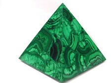 "BUTW Hand Carved Zaire Africa Malachite 4 3/8"" Pyramid Heal Lapidary 0134K ab"