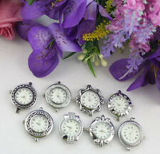 10pcs mixed style roman numerals silver watch faces #22297