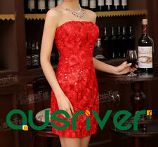 Short Dress Party Wedding Poplin Off-Soulders Big Flowers Sequins Red Bridemaids