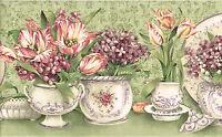 Sage Green Dish Plate Saucer Vase Tulip Flower Floral Kitchen Wall paper Border