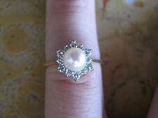 Kalati 14kt Gold Ring w/ 12 Diamonds Surrounding Single Pearl