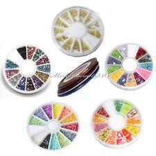 5 Wheels Mixed Nail Art Tips Rhinestone Slice Decoration + 3 Rolls Striping Tape