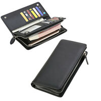 Business Mens Slim Leather Clutch Bifold Wallet Card Holder Money Purse Long Zip