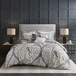 Madison Park Vienna Full/Queen 6-Piece Duvet Cover Set in Slate