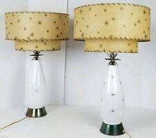 (2) Mid Century Modern Milk Glass Atomic 3D Starburst Lamps Fiberglass Shades