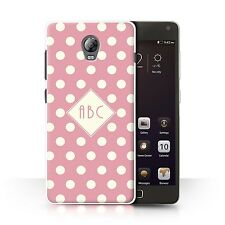 Personalised Custom Polka Dot Case for Lenovo Vibe P1/Pink/Initial/Name Cover