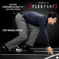 NEW Mens VAN HEUSEN Flat Front Flex Casual Dress Pants Big & Tall BLACK 36X36